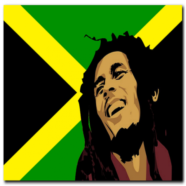 C022 Bob Marley on Jamaican Flag