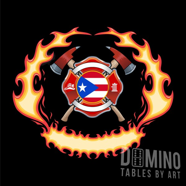 T071 Flaming Firefighter Shield and PR Flag