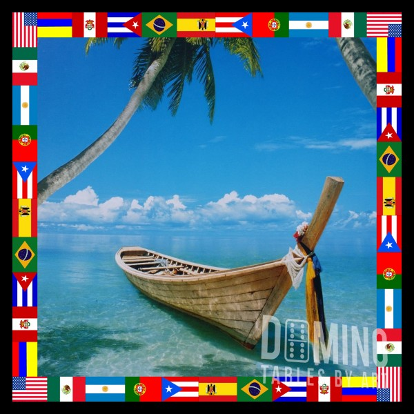 T144 Boat on Beach - Flag Border